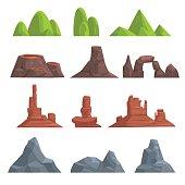 Cartoon hills and mountains set
