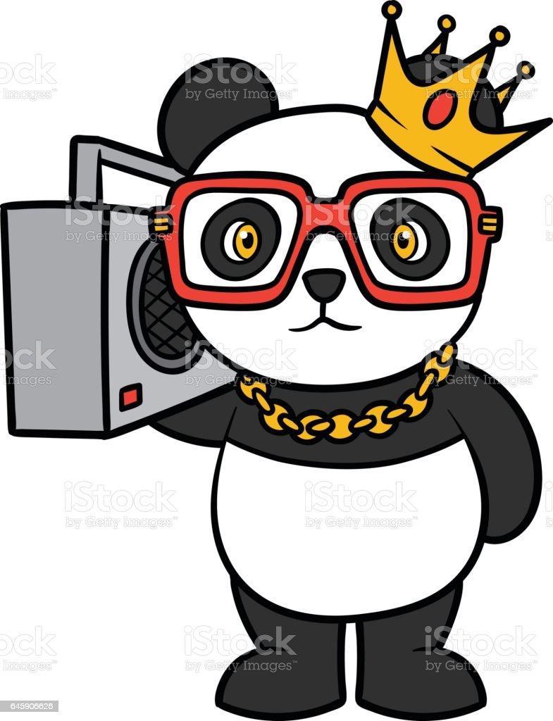 Cartoon Hip Hop Panda Vector Illustration vector art illustration