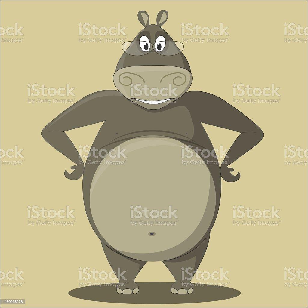 Cartoon Hippo with Glasses vector art illustration