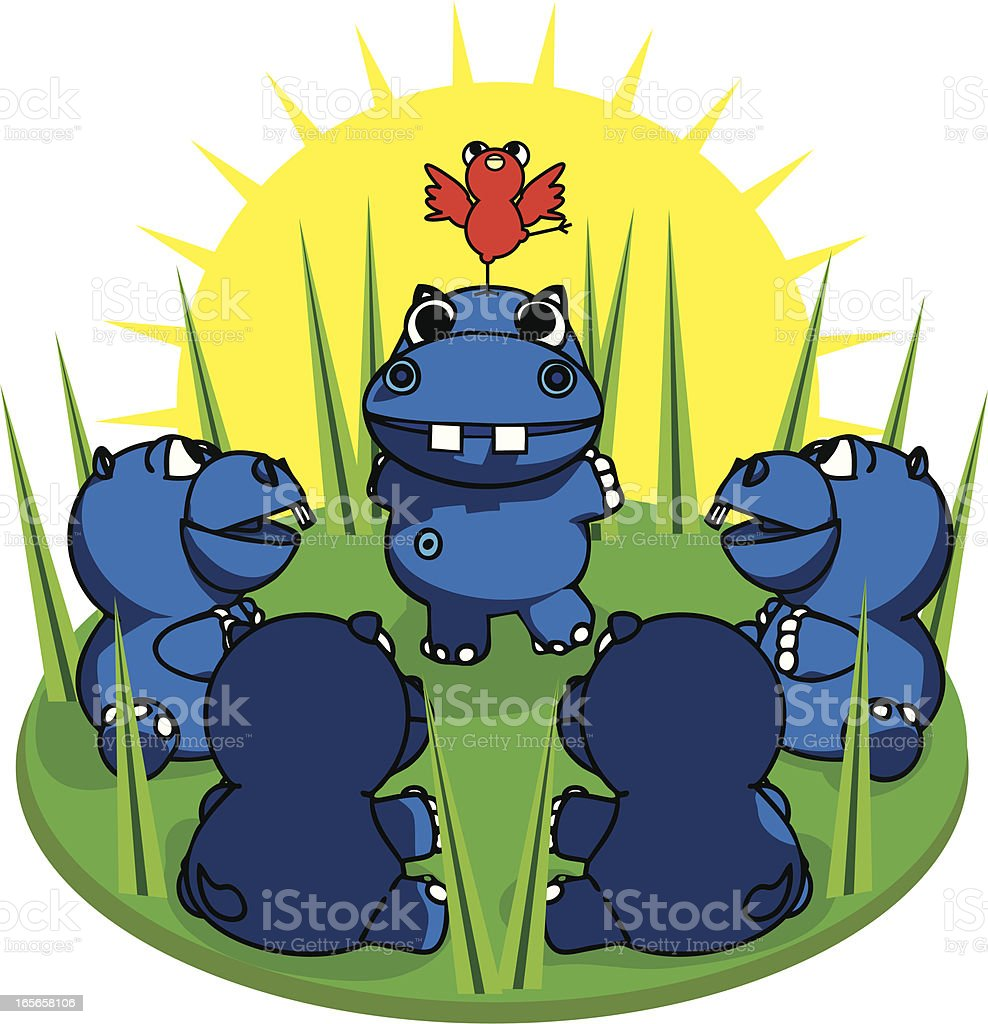 Cartoon Hippos Meeting for a Performance royalty-free stock vector art