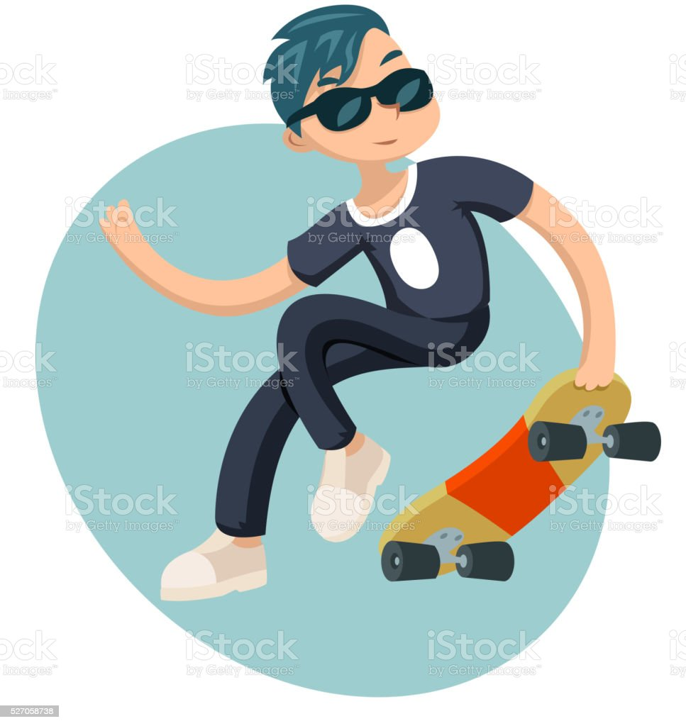 Cartoon Hipster Geek Scater Jump Skateboard Summer Character Icon on vector art illustration