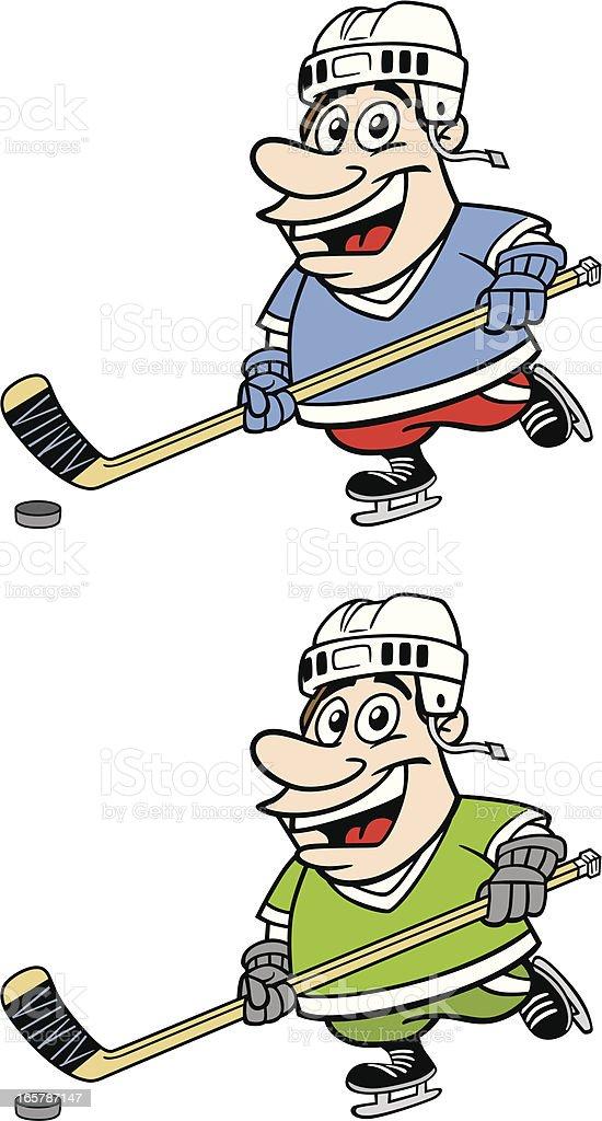 Cartoon Hockey Player vector art illustration
