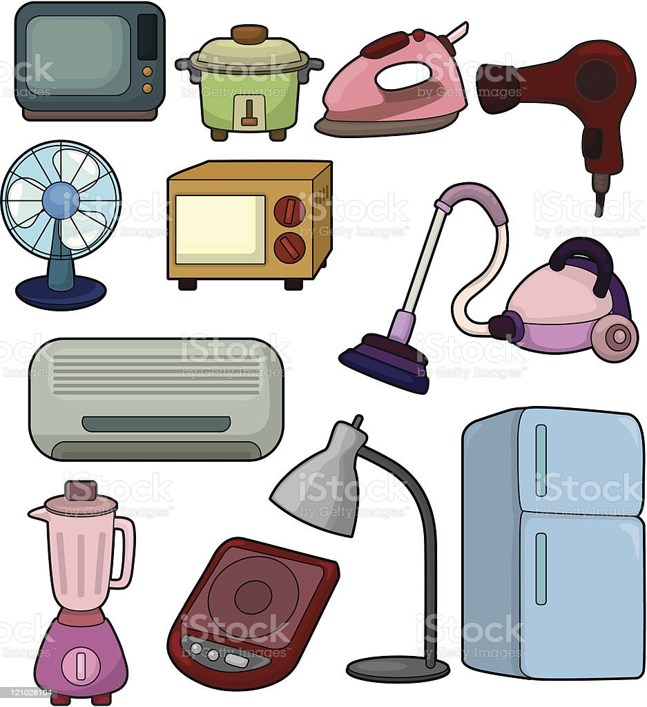 cartoon Home Appliances icon set royalty-free stock vector art
