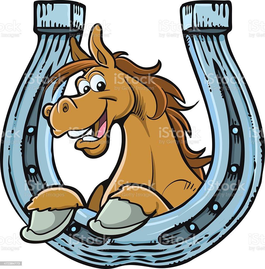 Cartoon horse resting on horseshoe royalty-free stock vector art