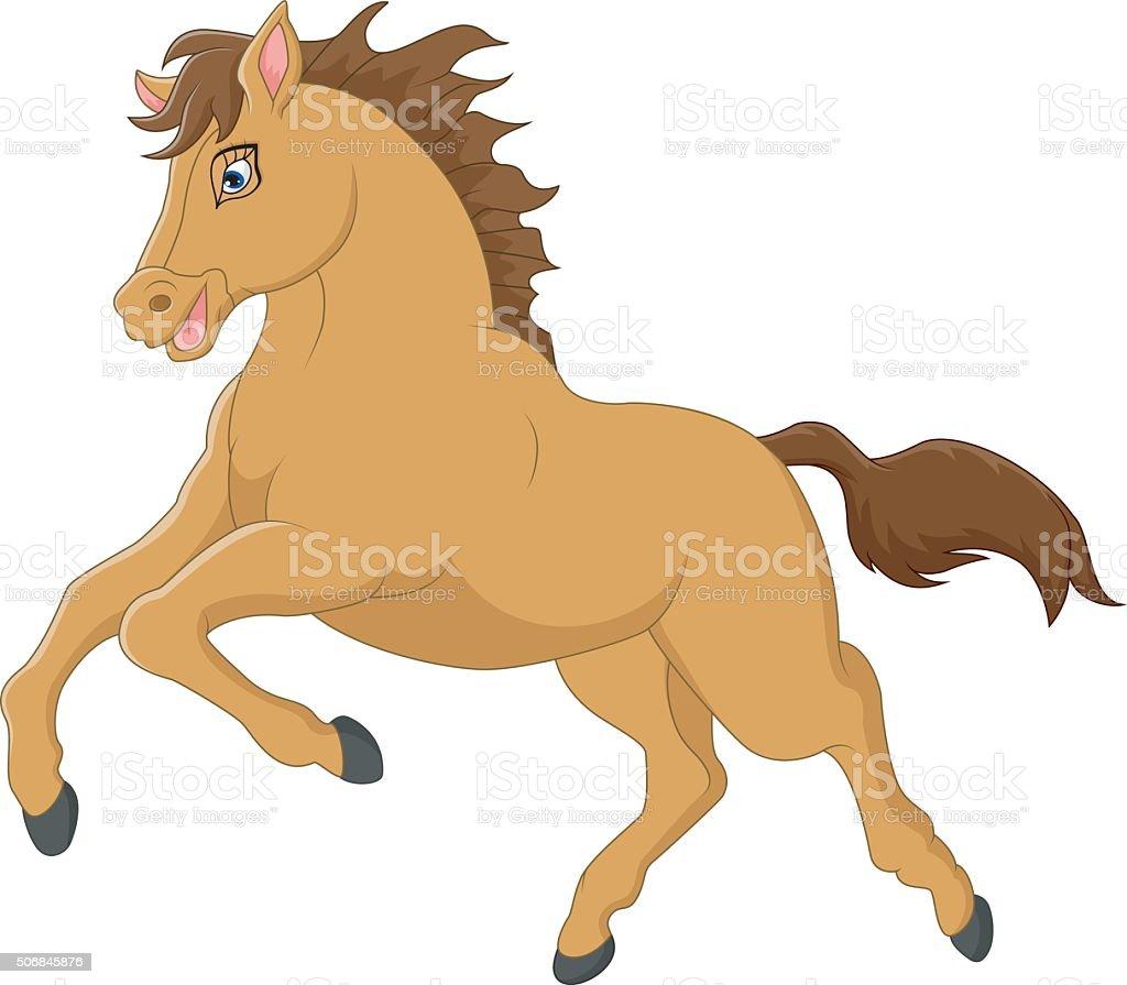 Cartoon horse vector art illustration