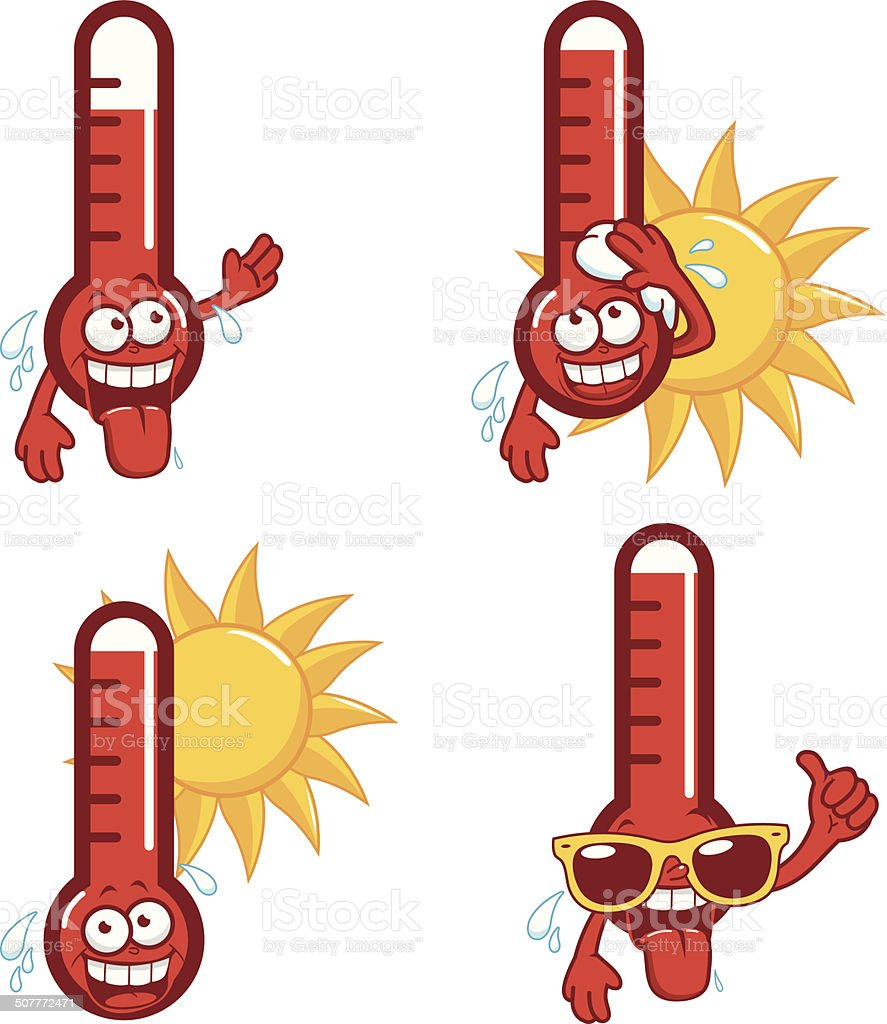 Cartoon hot thermometers vector art illustration