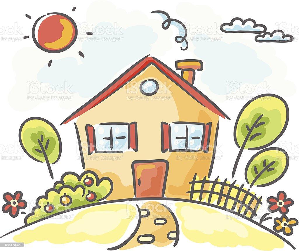 Maison dessin anim stock vecteur libres de droits 133473421 istock - Image maison dessin ...