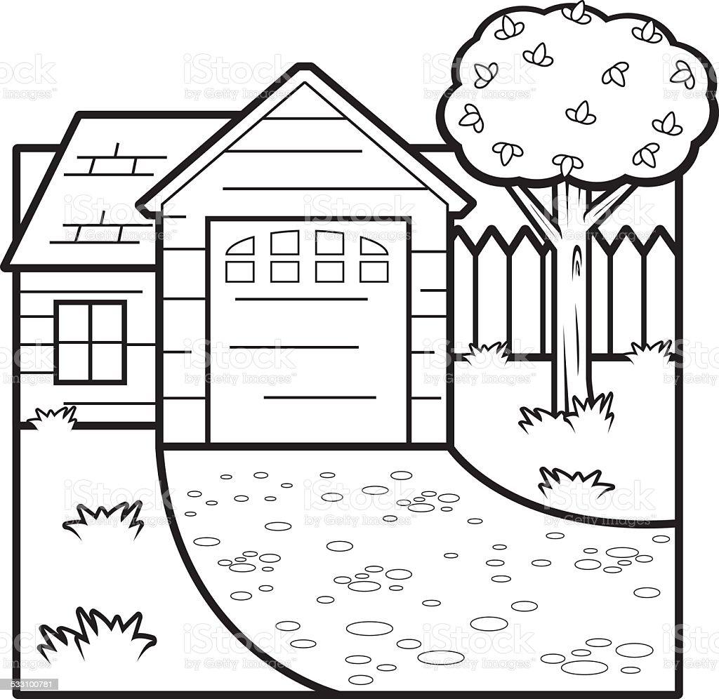 Cartoon House vector art illustration