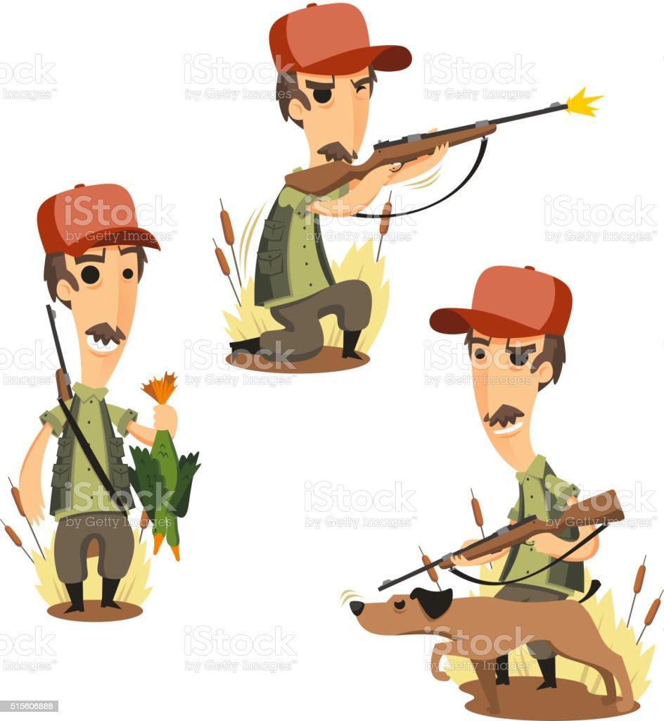 cartoon hunter set 1 vector art illustration