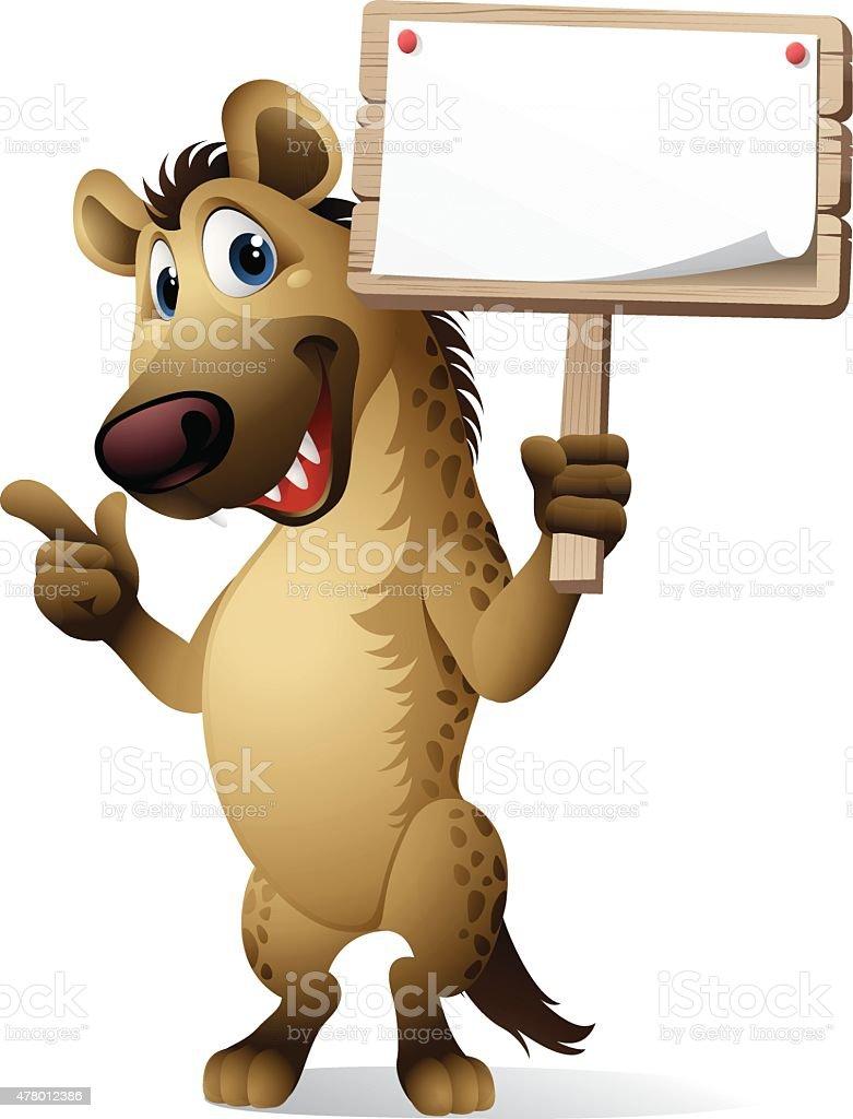 Cartoon Hyena - Sign vector art illustration