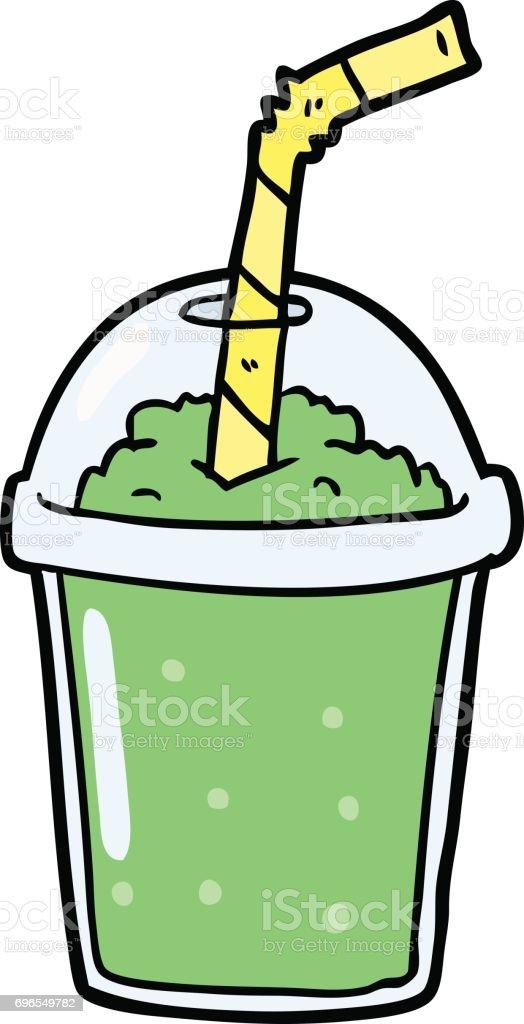 cartoon iced smoothie vector art illustration