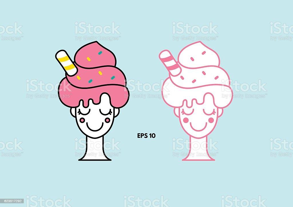 Cartoon icon of woman with soft ice cream hair vector art illustration