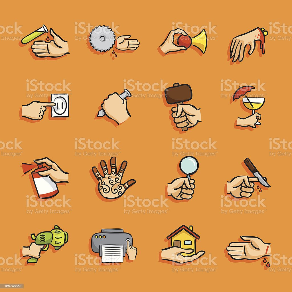 Cartoon Icons - Hands Actions royalty-free stock vector art