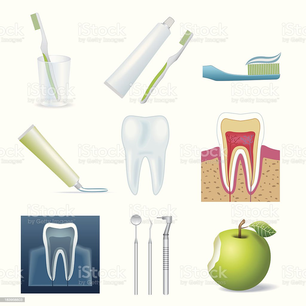 Cartoon icons of different dental related items royalty-free stock vector art