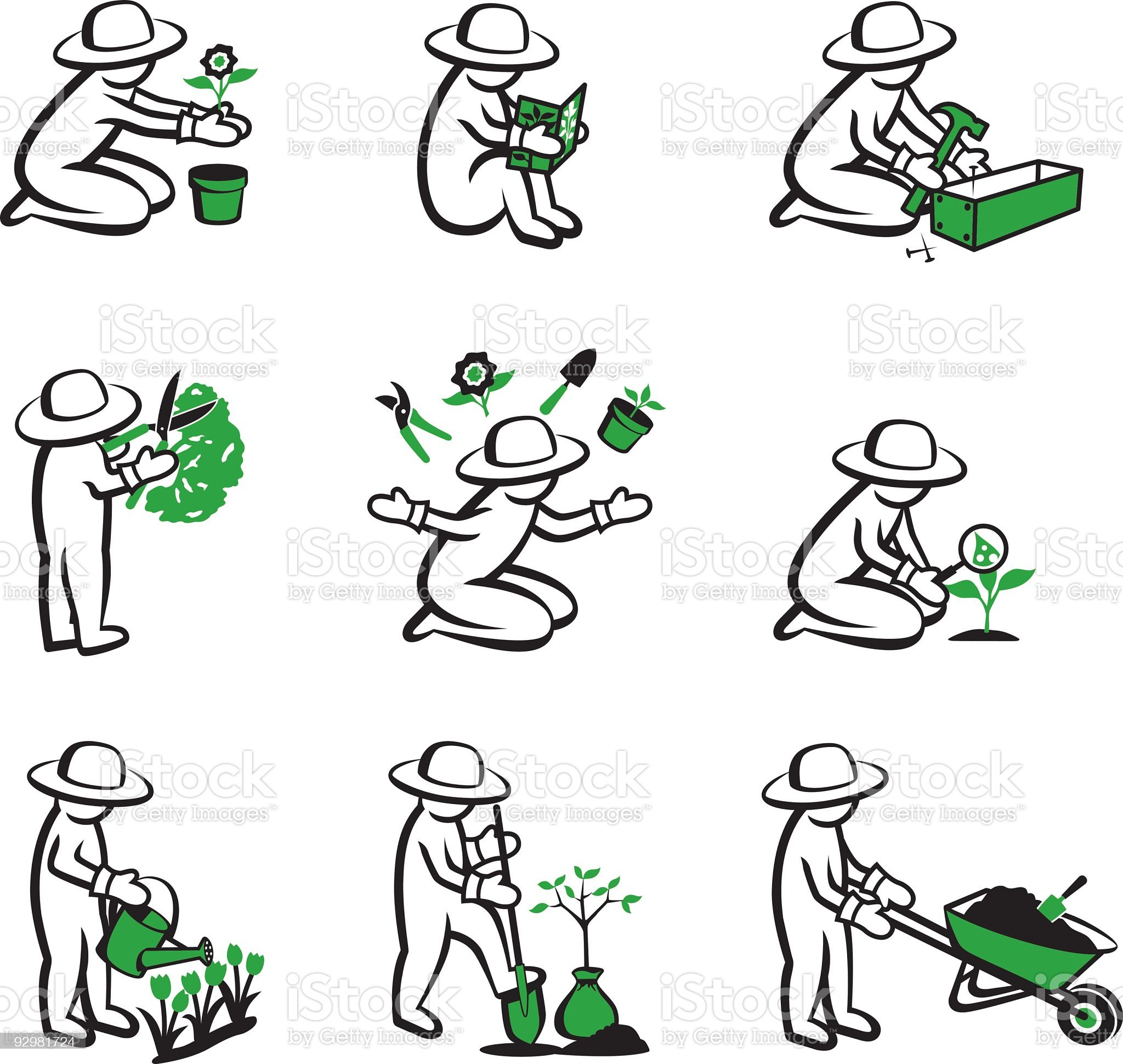 Cartoon icons of person gardening royalty-free stock vector art