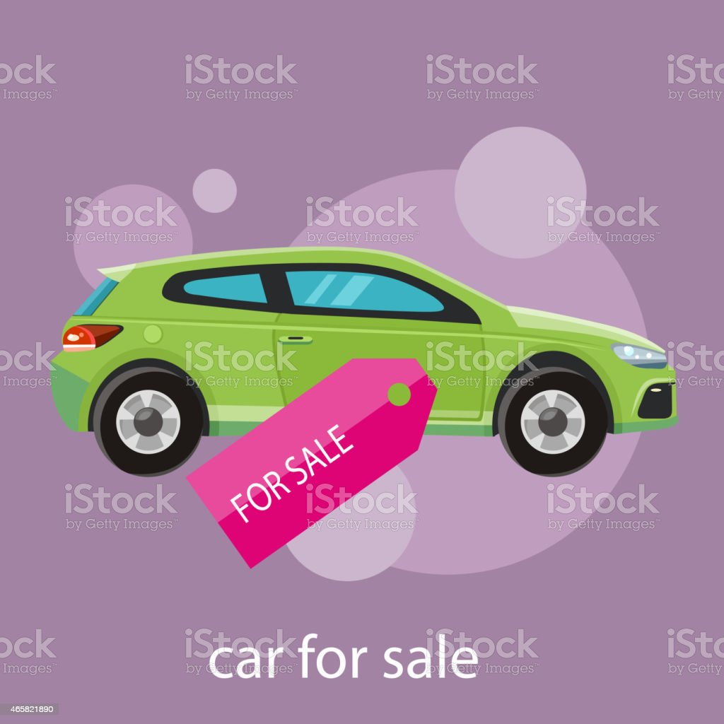 Cartoon illustrate poster of a green car for sale vector art illustration
