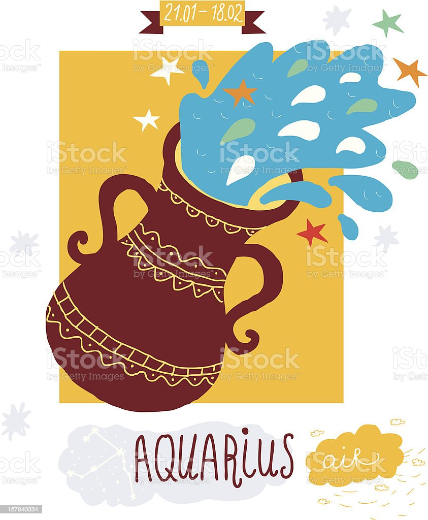 cartoon illustration aquarius sign vector art illustration