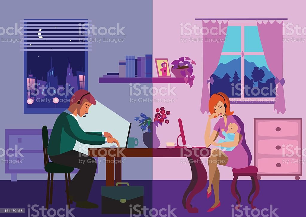 Cartoon illustration in family using the Internet royalty-free stock vector art