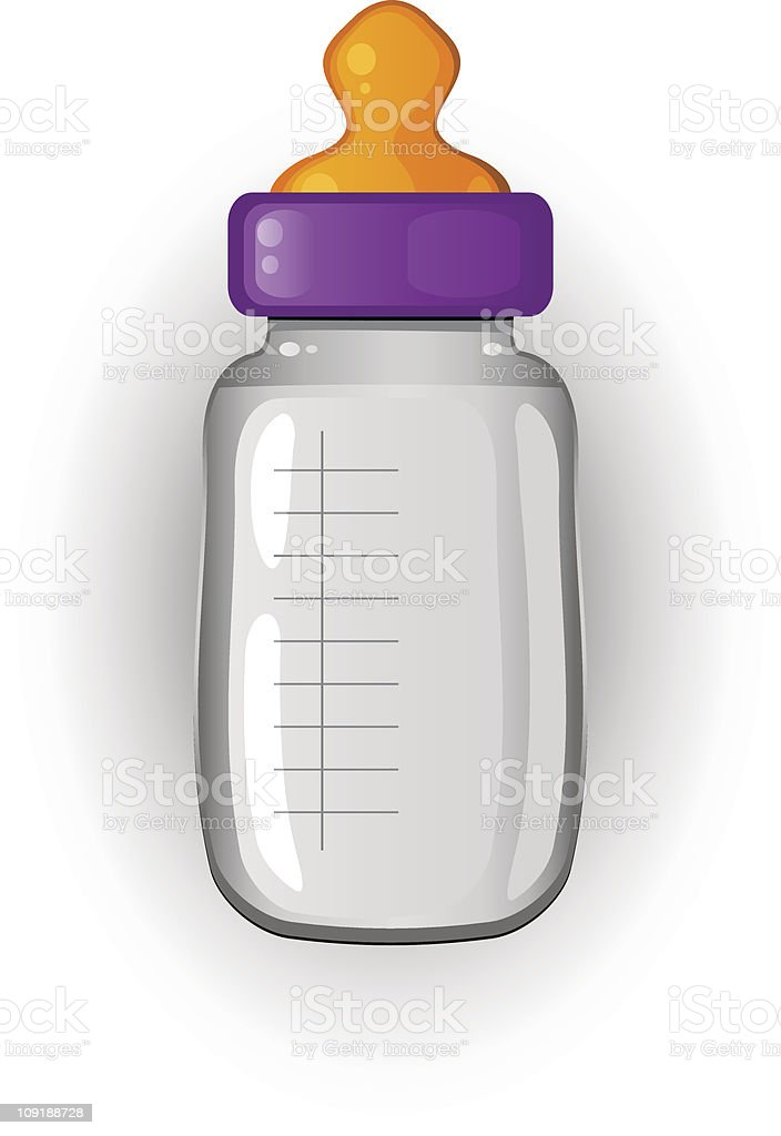Cartoon illustration of a baby's bottle of milk royalty-free stock vector art