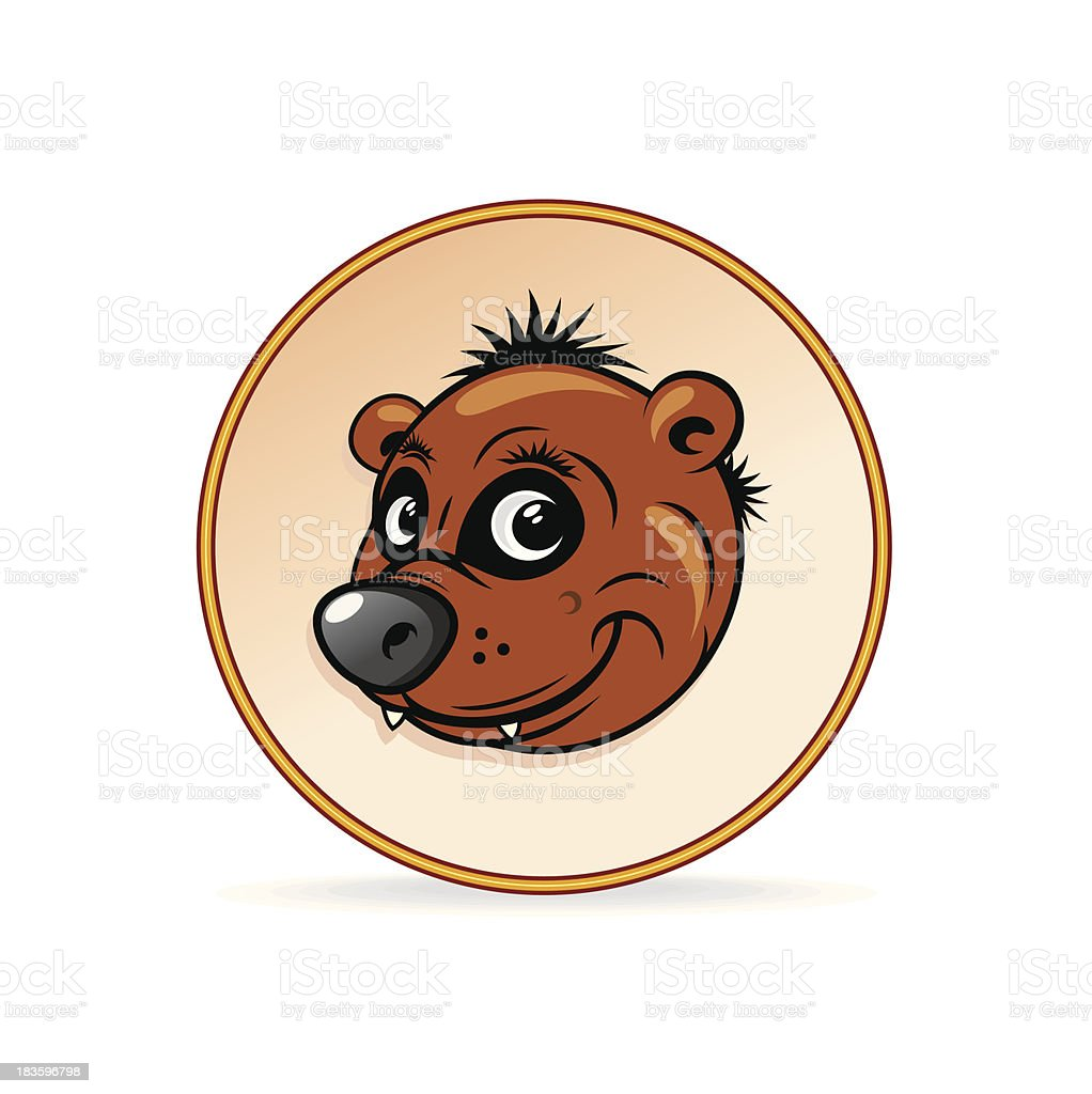 Cartoon Illustration of a Brown Bear Head. royalty-free stock vector art