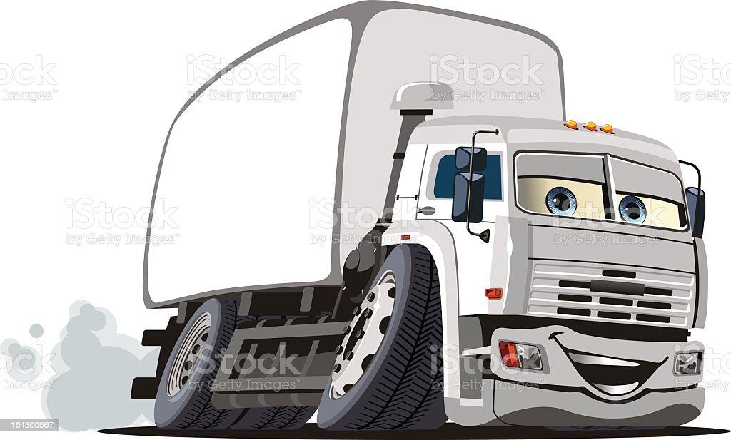 A cartoon illustration of a cargo truck royalty-free stock vector art