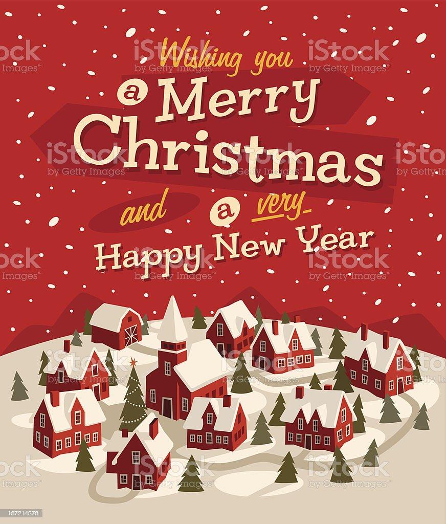 A cartoon illustration of a Christmas card vector art illustration