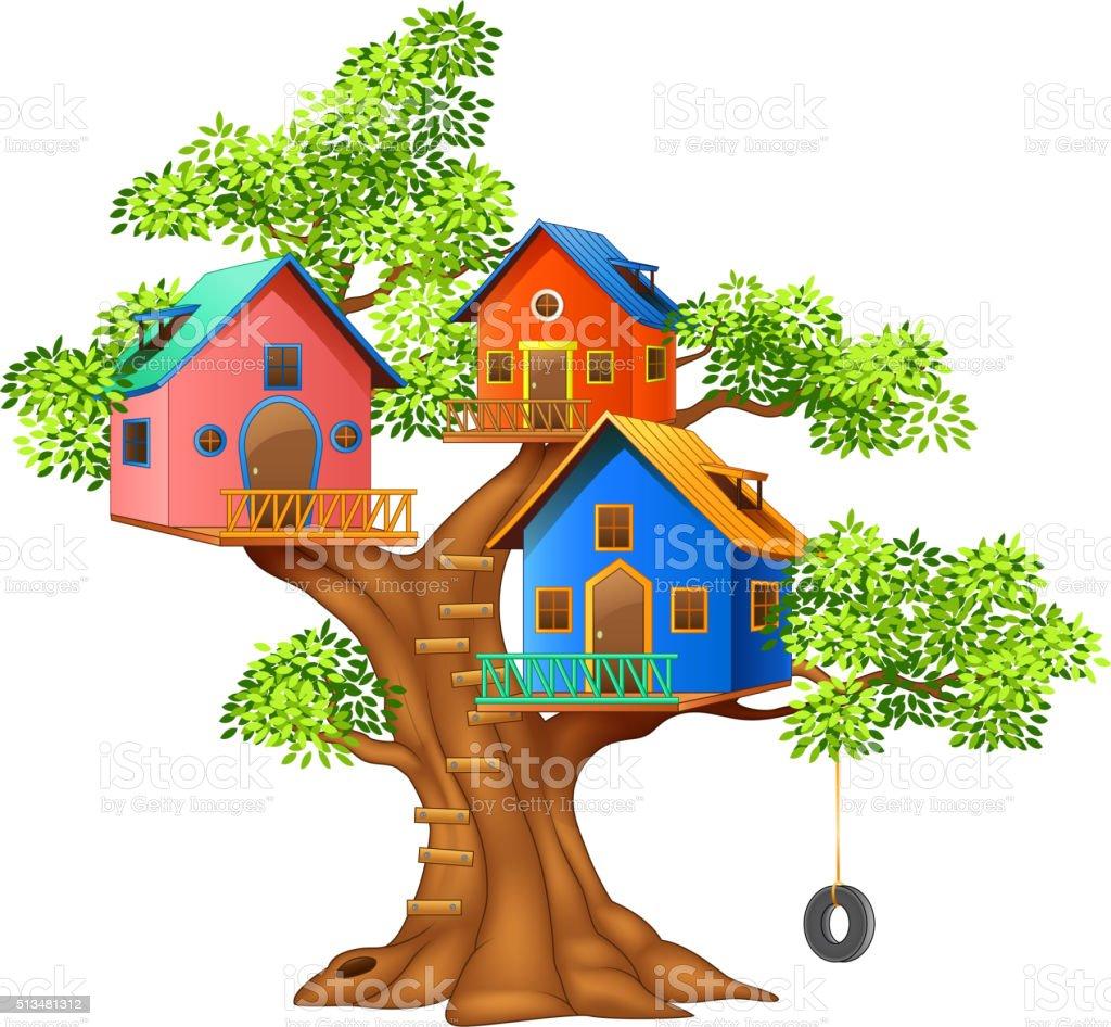 Cartoon illustration of a colorful tree house vector art illustration