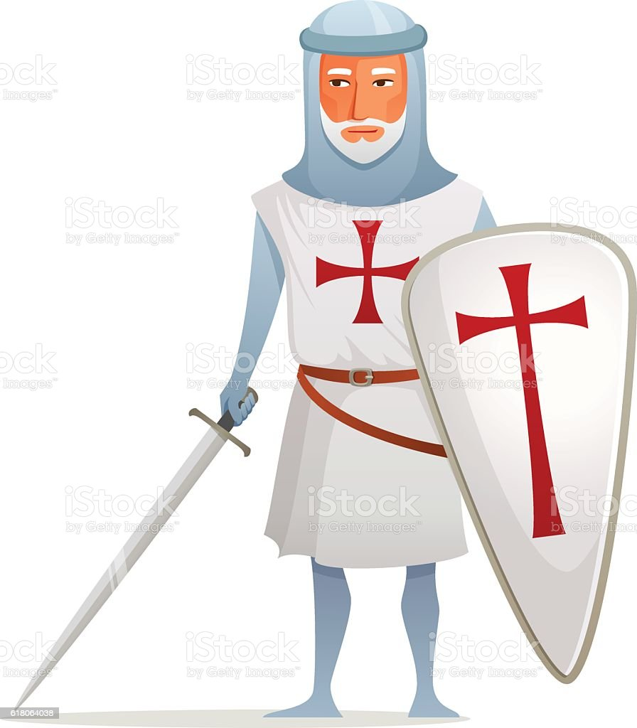 cartoon illustration of a crusader knight vector art illustration
