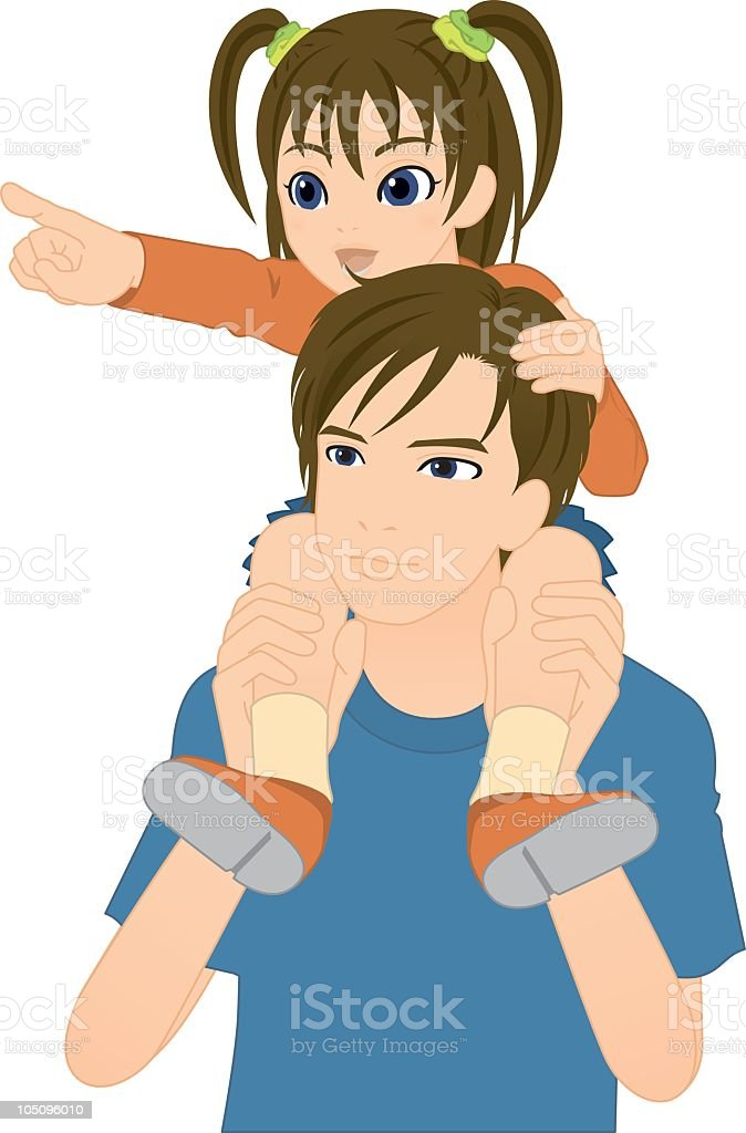 Cartoon illustration of a daughter on her fathers shoulders vector art illustration