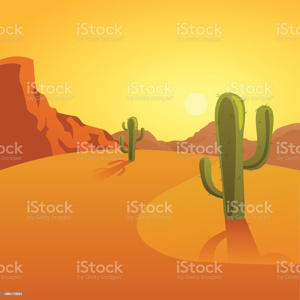 Cartoon illustration of a desert background with cactuses vector art illustration