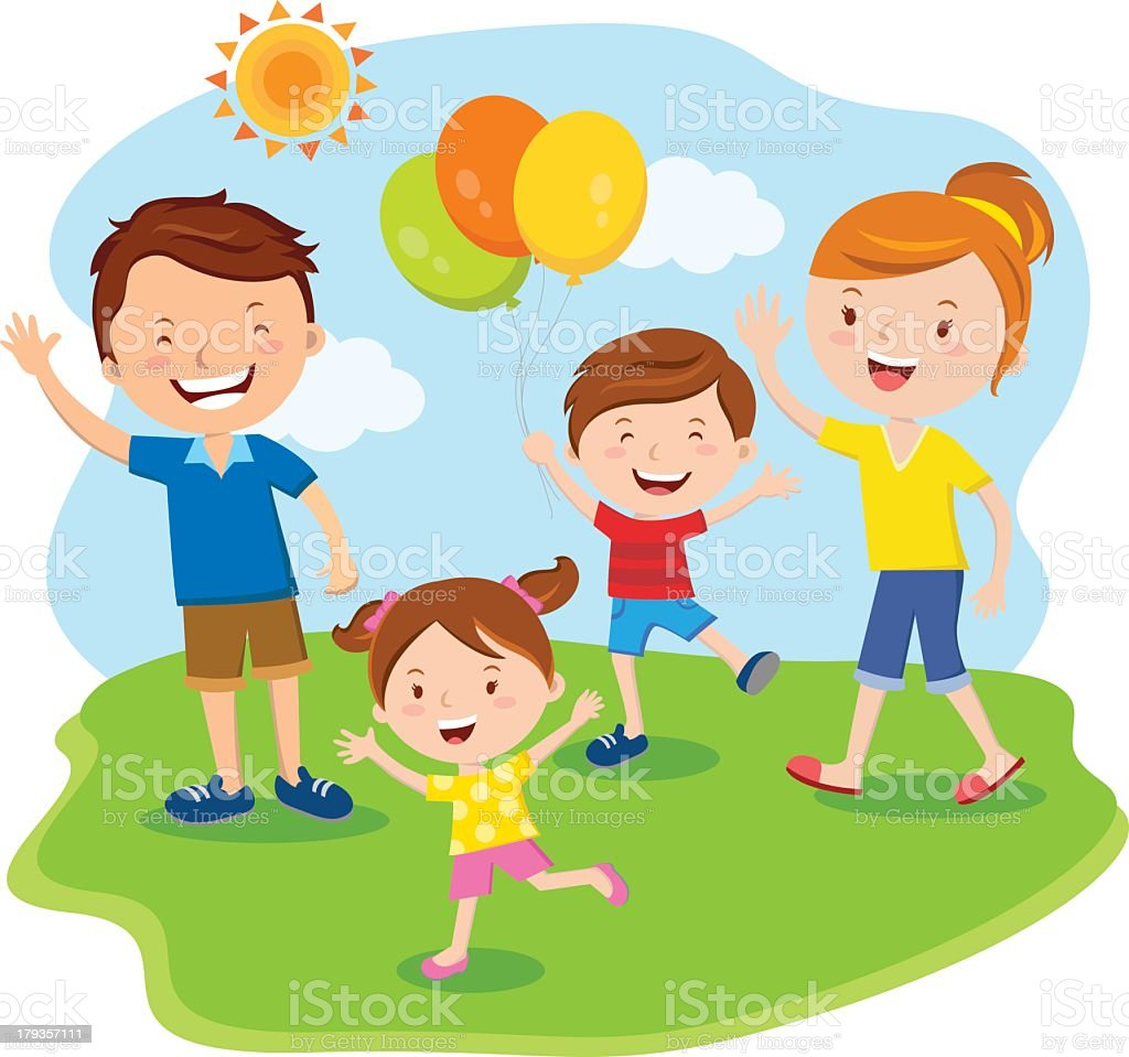 Cartoon illustration of a family of four on Family Day royalty-free stock vector art