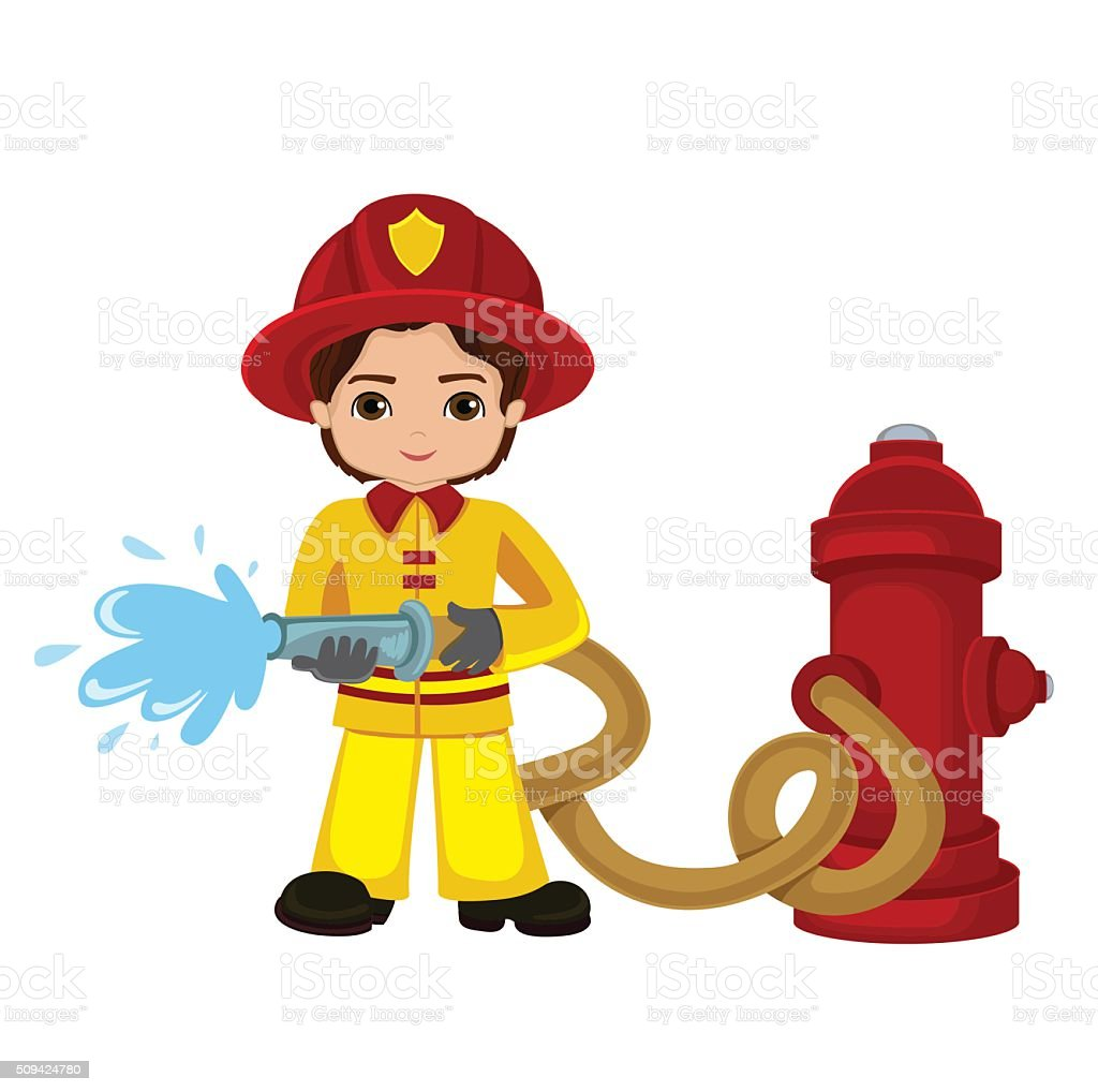 cartoon illustration of a firefighter boy stock vector art firemans hat clipart Fireman Hat