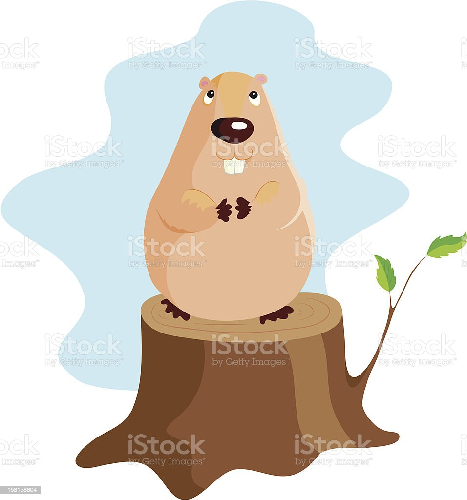 A cartoon illustration of a groundhog perched on a log vector art illustration