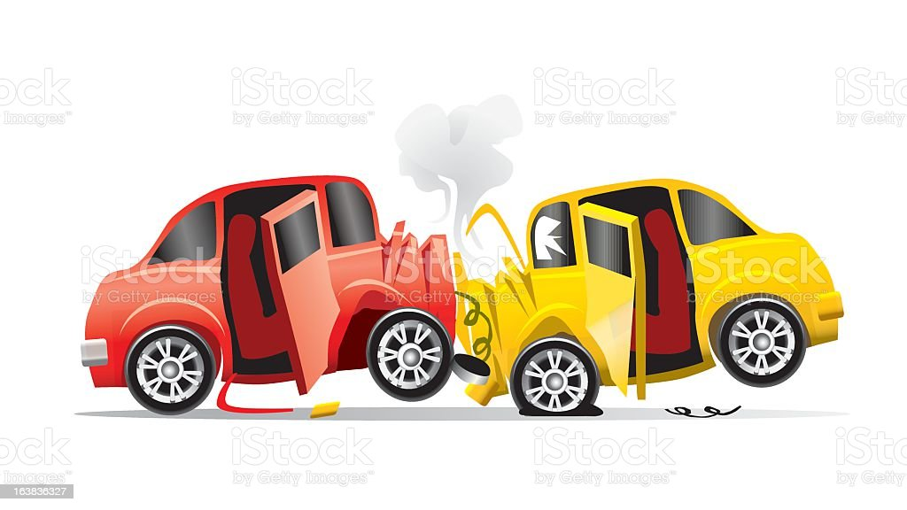 A cartoon illustration of a head on collision vector art illustration