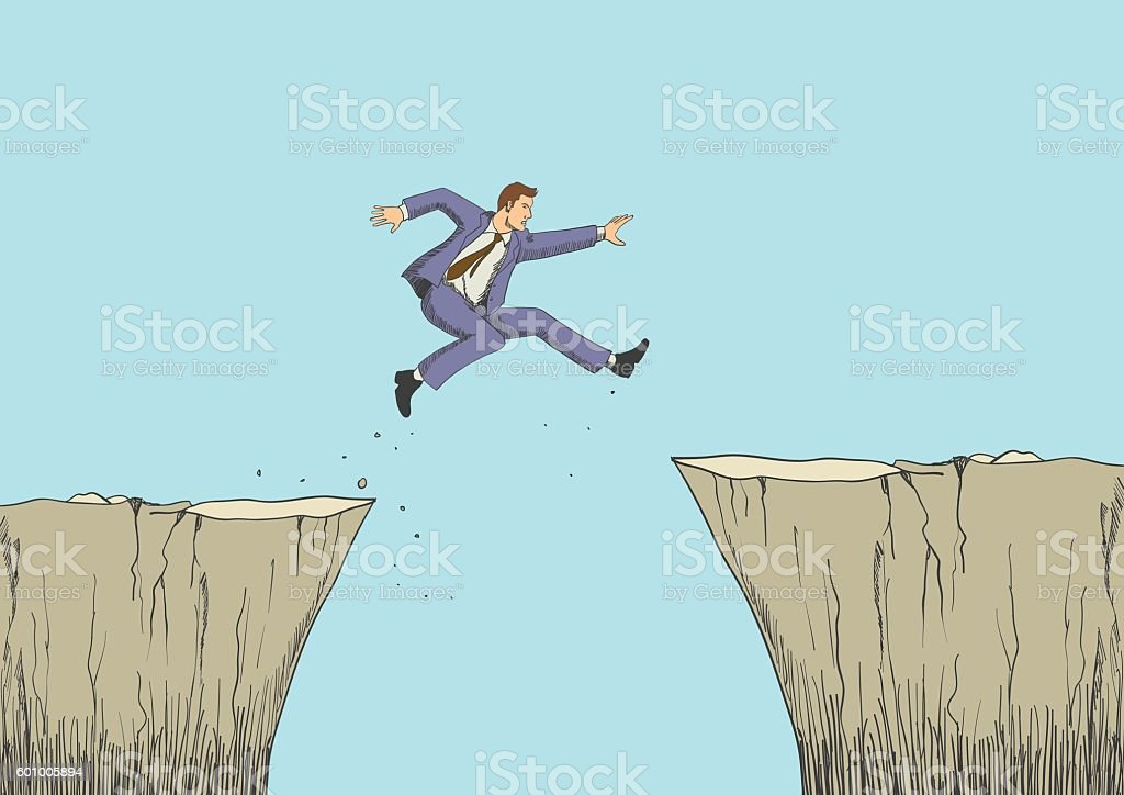 Cartoon illustration of a man jumps from the ravine vector art illustration