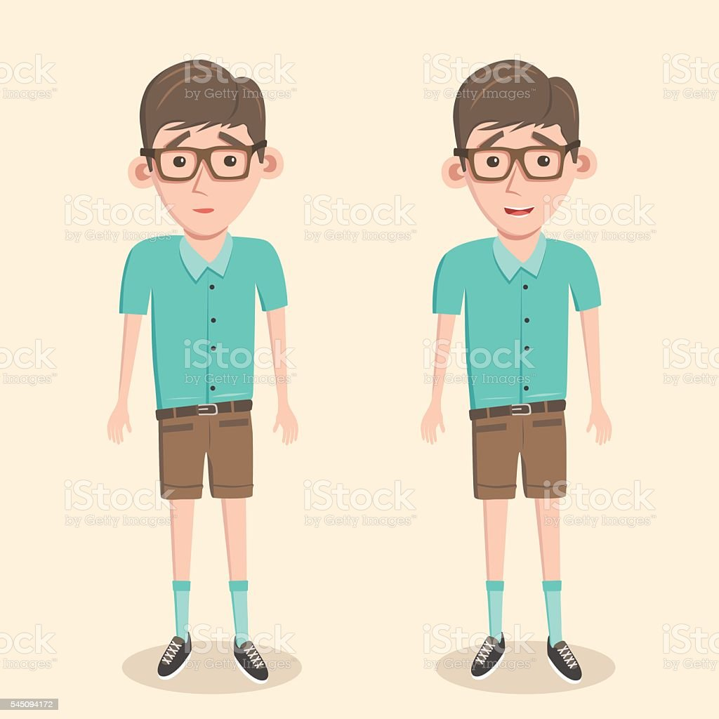 Cartoon illustration of a nerd boy vector art illustration