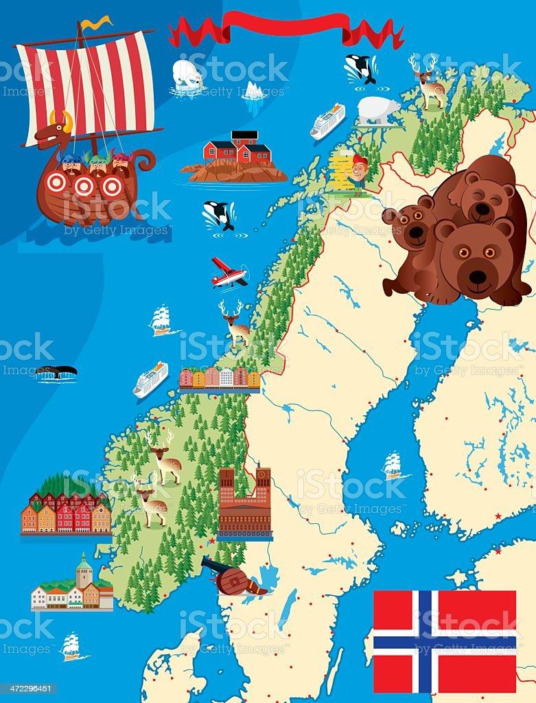 A cartoon illustration of a Norway map vector art illustration