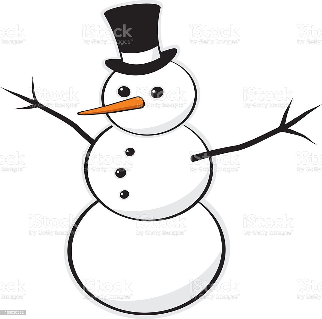 A cartoon illustration of a snowman in a white background  royalty-free stock vector art