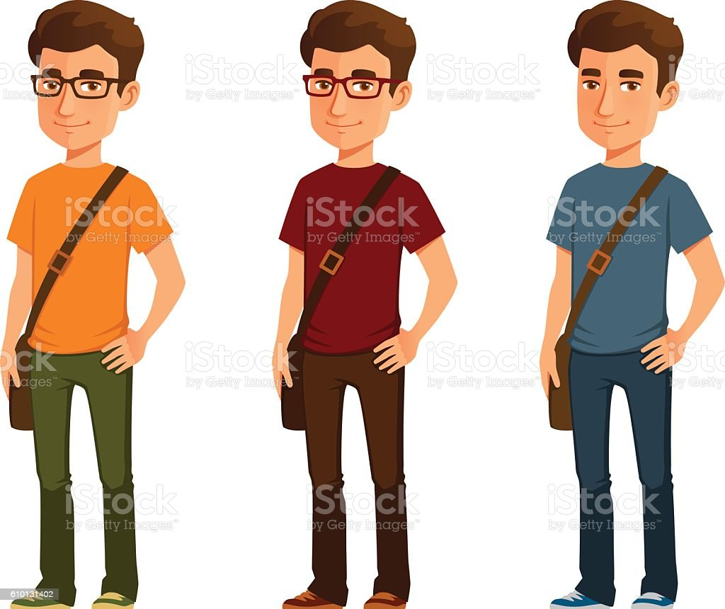 cartoon illustration of a student in casual clothes vector art illustration