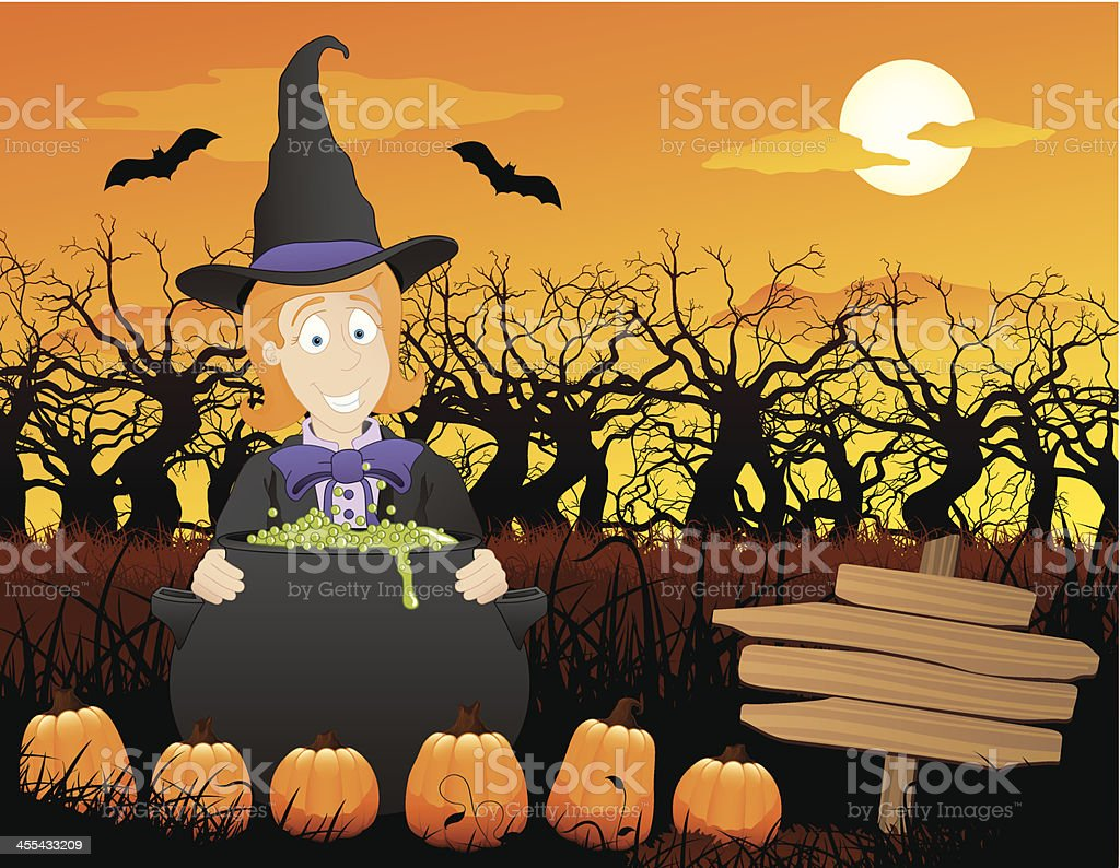 cartoon illustration of a witch in a pumpkin patch royalty-free stock vector art