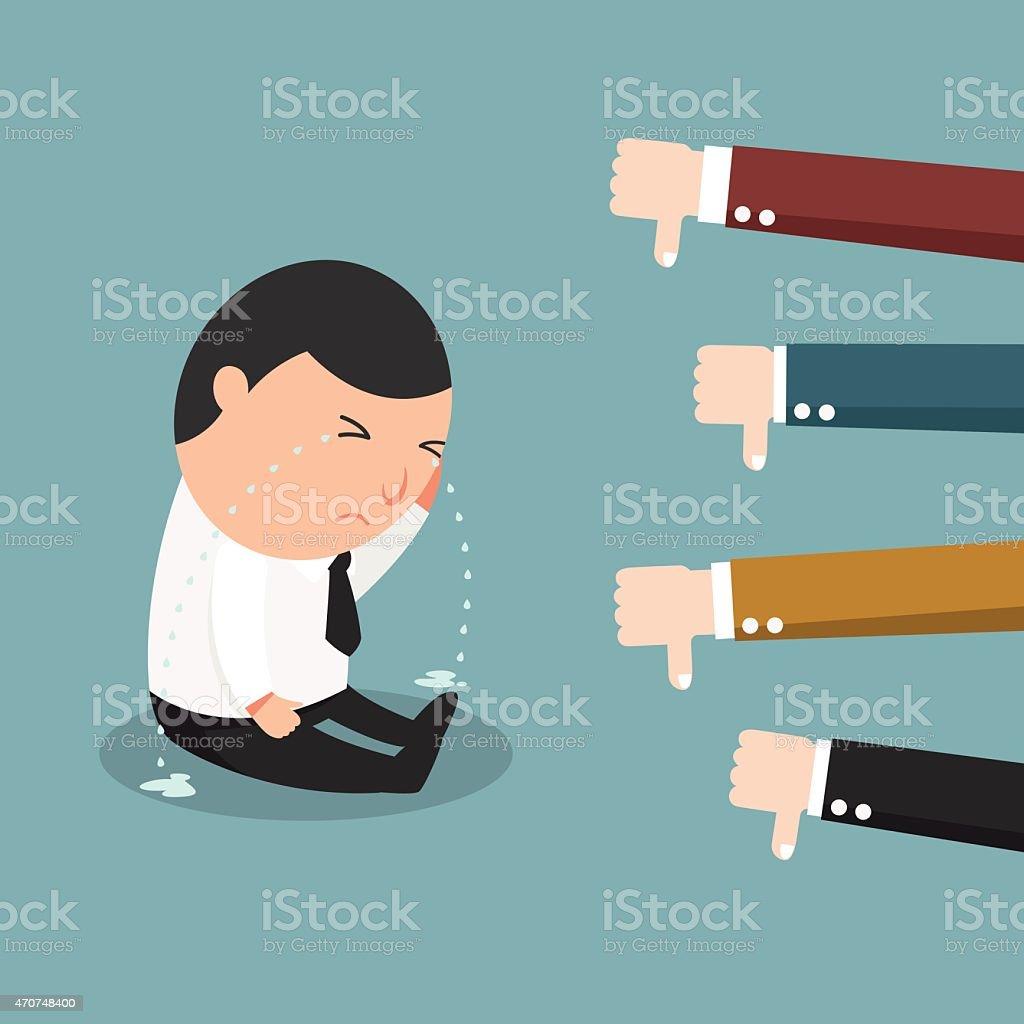 Cartoon illustration of a worker receiving negative feedback vector art illustration
