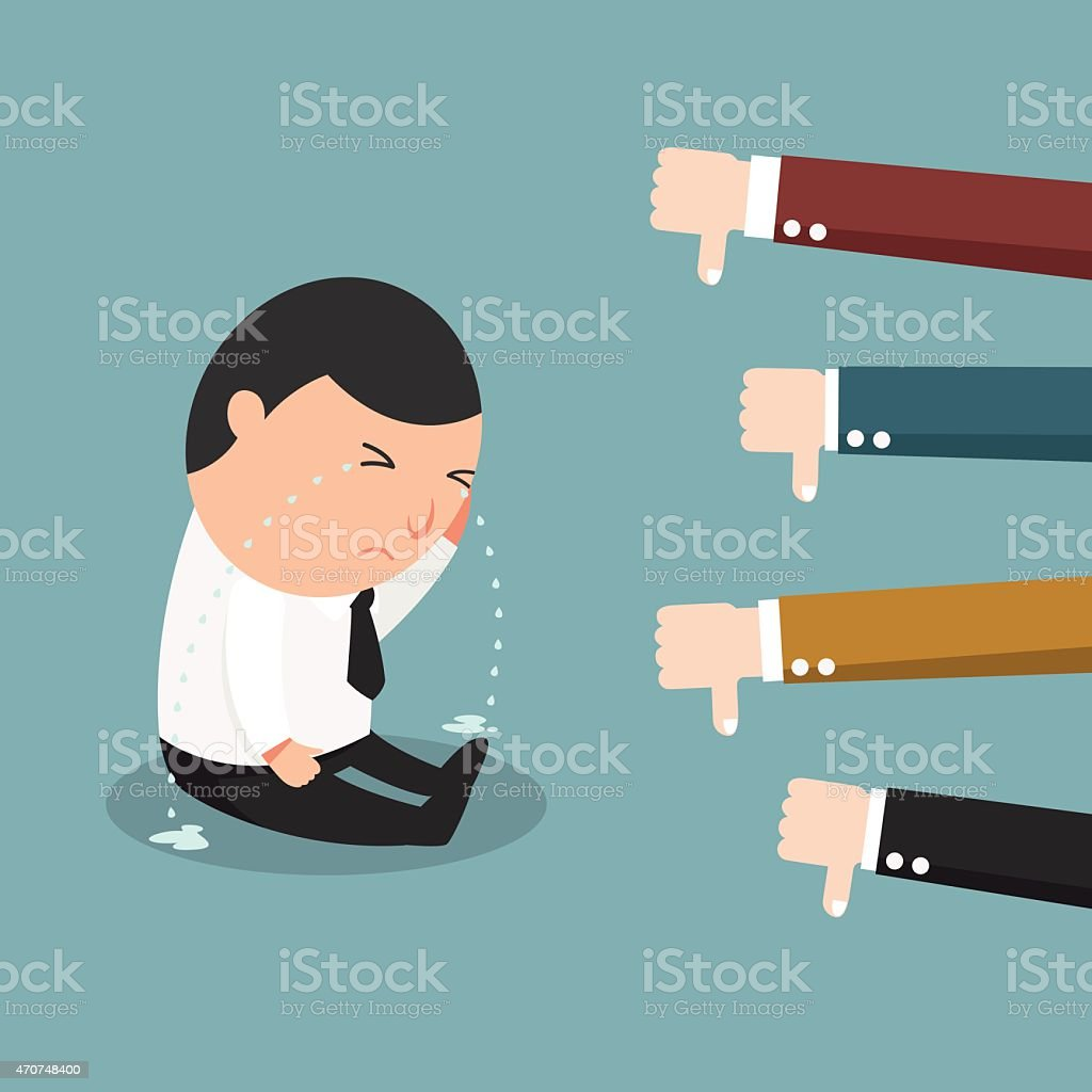 Cartoon illustration of a worker receiving negative feedback vector art illustration