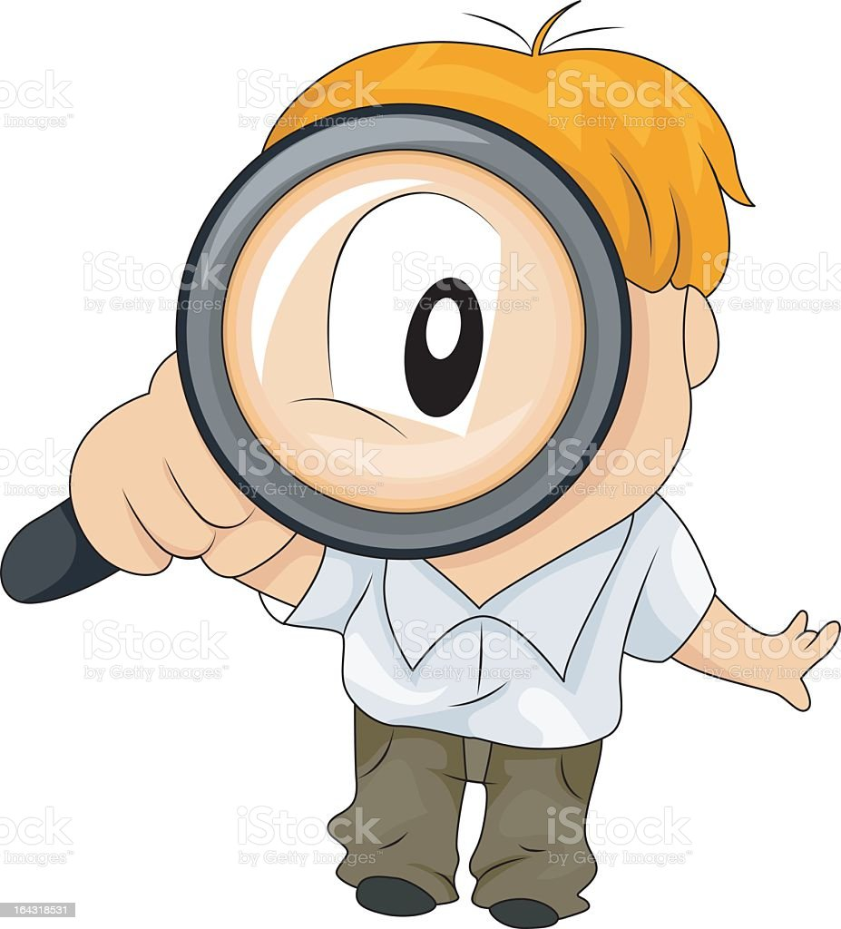 Cartoon illustration of a young boy with a magnifying glass vector art illustration