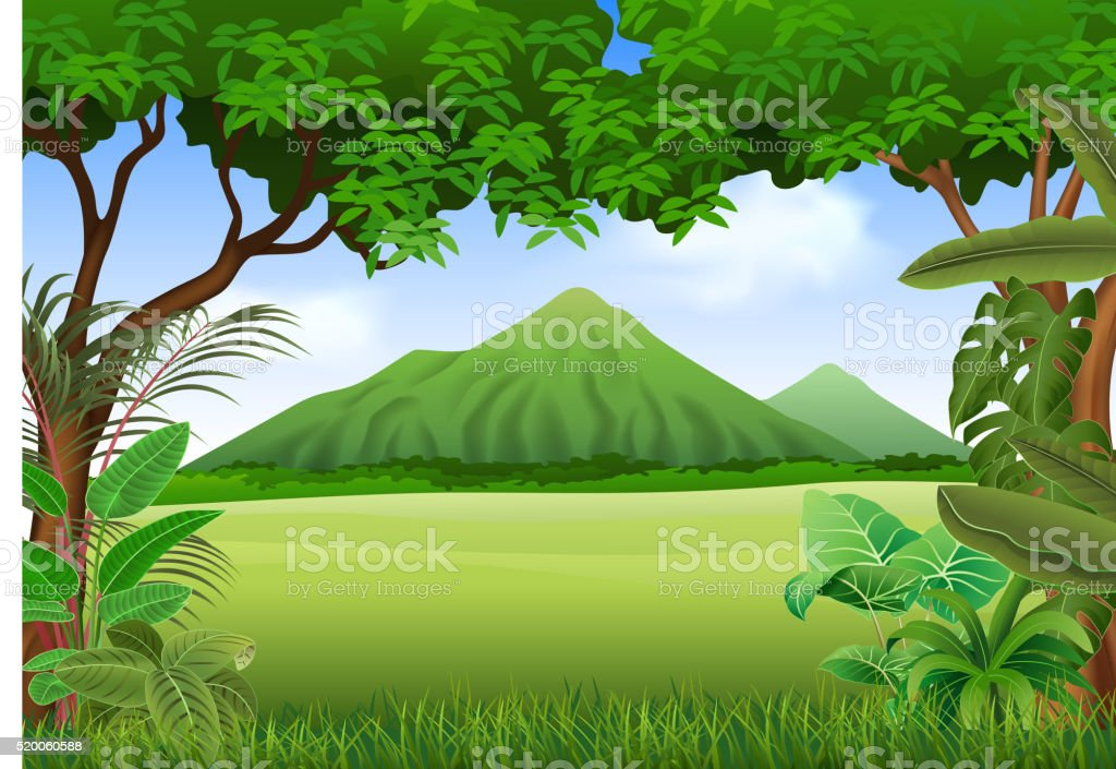 Cartoon illustration of beautiful natural landscape background vector art illustration