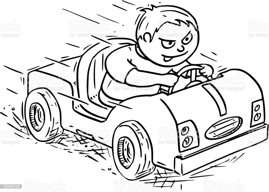 Cartoon Illustration of Boy Driving Electric or Pedal Car vector art illustration
