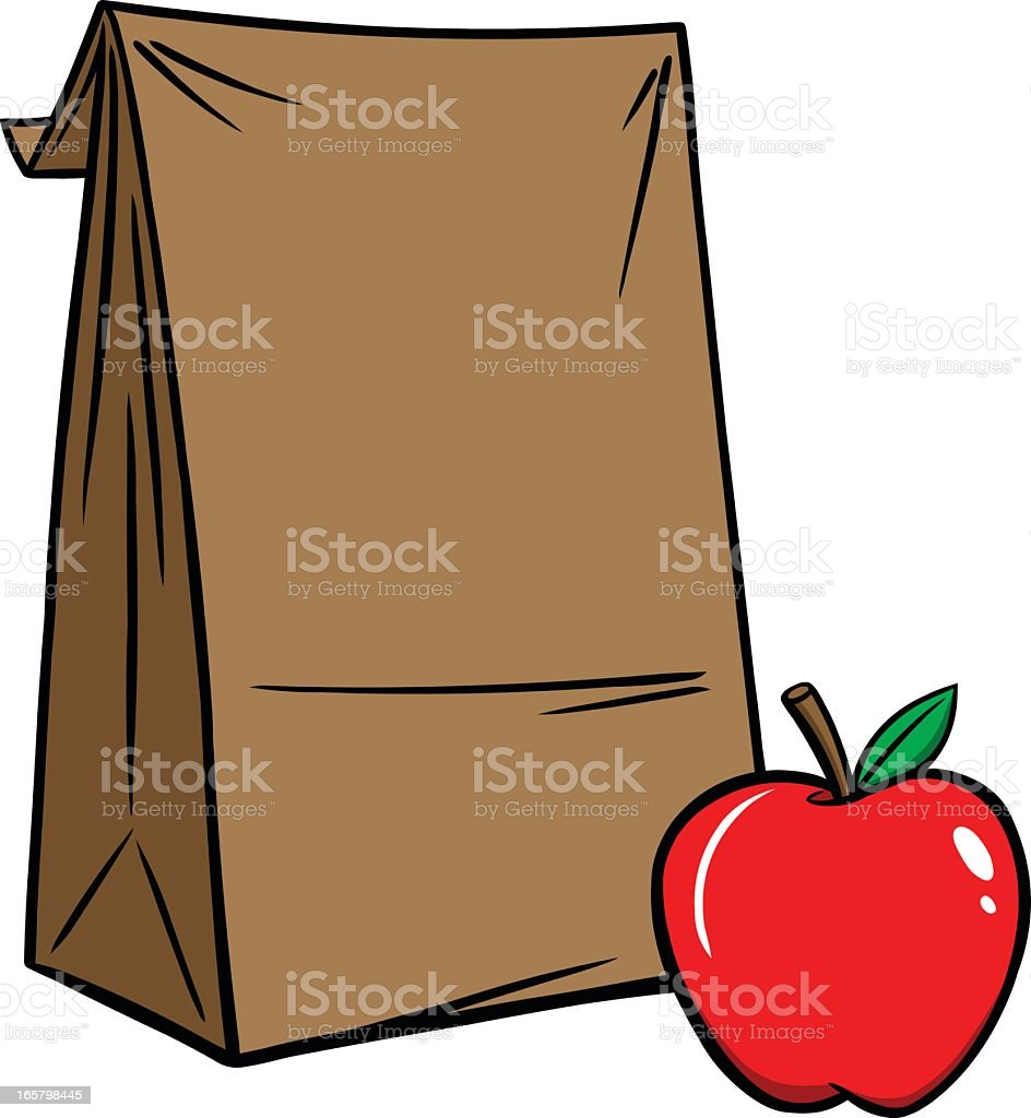 Cartoon illustration of brown bag lunch with red apple vector art illustration