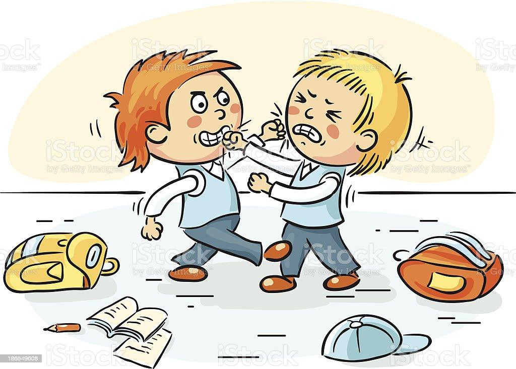 Cartoon illustration of children fighting after school vector art illustration