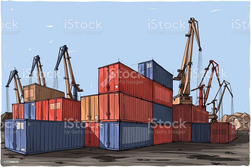 Cartoon illustration of colorful containers and cranes royalty-free stock vector art