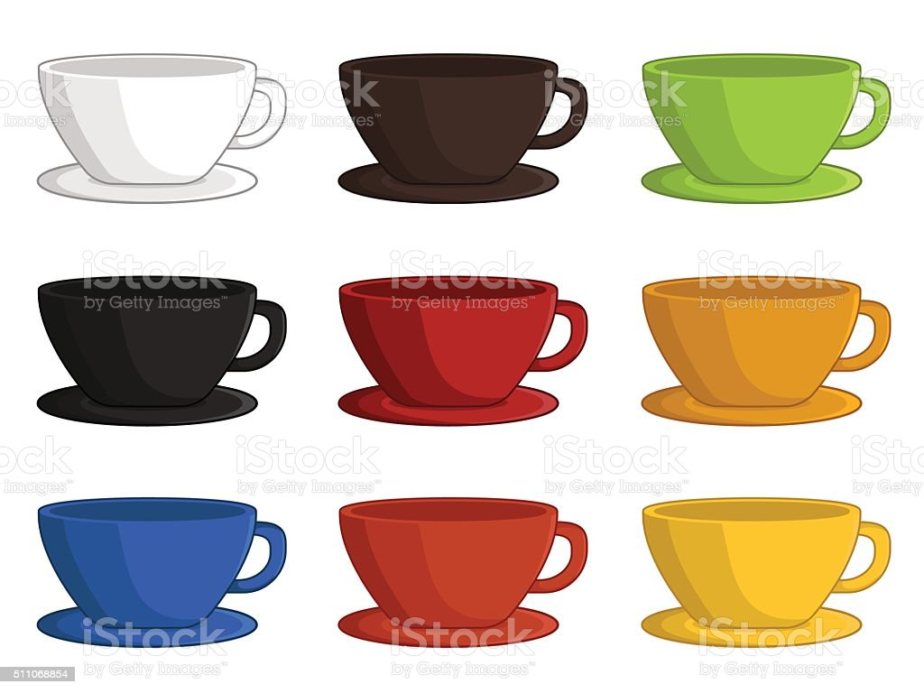 Cartoon illustration of cups vector art illustration