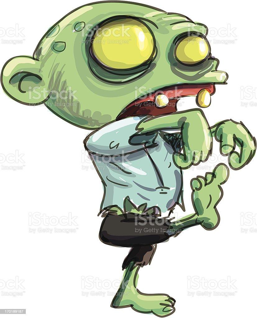 Cartoon illustration of cute green zombie royalty-free stock vector art